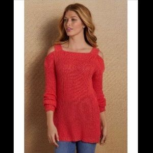 Soft Surroundings Free Day Sweater Cold Shoulder